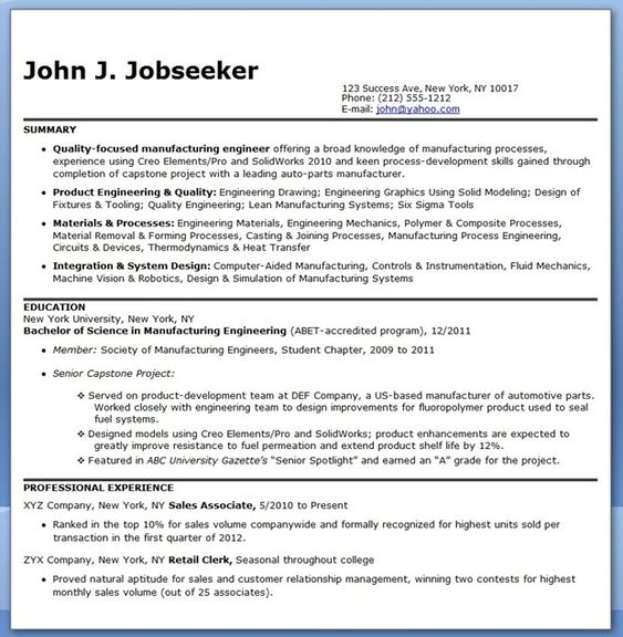 Doc.#604780: Manufacturing Resume Sample – Manufacturing Resume ...