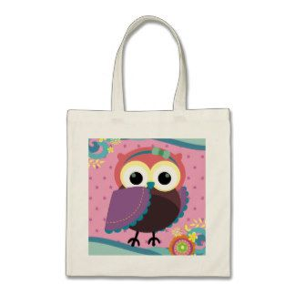 Gorgeous Folk Art Owl with Flowers Budget Tote Bag