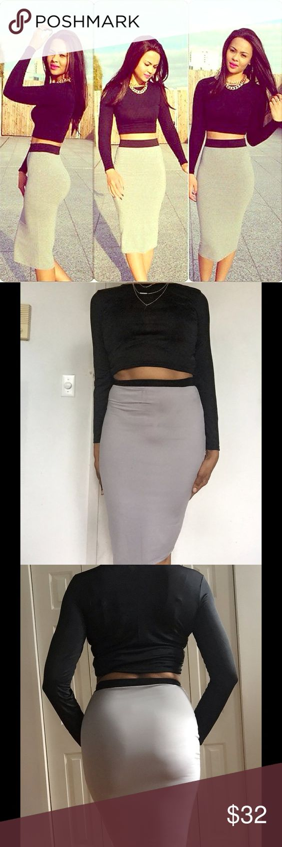 2 PIECE BLK/GRAY CROP TOP BODY CON DRESS  2 piece black/gray crop top bodycon dress. Cute two piece outfit, great value. Black crop top, paired with a fitted gray skirt, skirt has black band at waist. Imported, 100% polyester. Sizes, M/L available. M skirt 25 ins long, 17 ins wide. L skirt 26 ins long, 18 ins wide. M, top 15 ins long, 16 ins underarm-underarm, 22 in sleeve. L, top 16 ins long, 18 ins wide, 23 1/2 in sleeve. Reasonable offers/bundles welcome, no trades. Please make any…