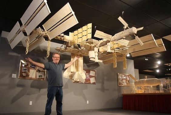 Incredible matchstick international space station #ISS model built using 282,000 matchsticks