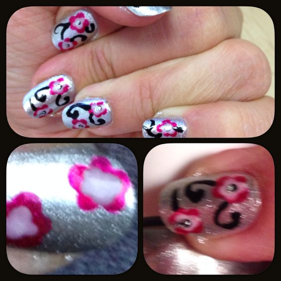 #pink #flowers #silver #nails #nailart