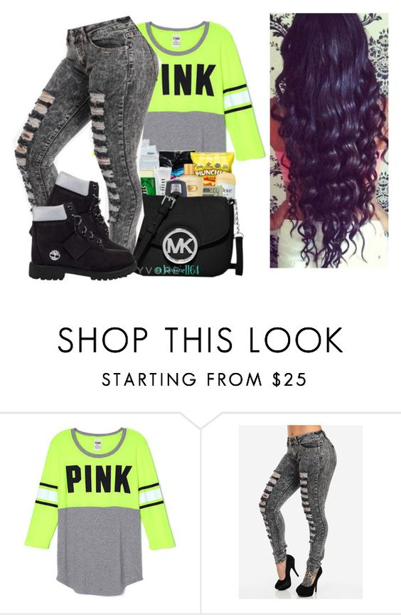 """""""Out With Mii Crazii Friends!! """" by qeens ❤ liked on Polyvore featuring Timberland"""