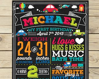 first birthday chalkboard poster trains – Etsy