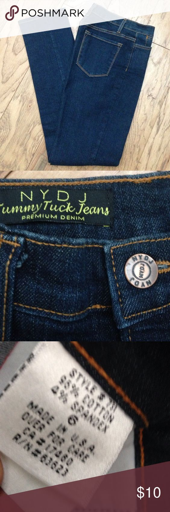 "NYDJ Tummy Tuck Denim Jeans Like new, dark wash, zip fly. 32.5"" inseam NYDJ Jeans"