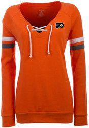Antigua Philadelphia Flyers Womens Foxy Orange Crew Sweatshirt