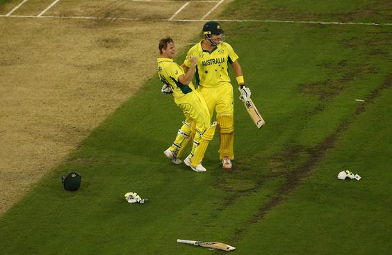 Cricket World Cup 2015: Australia v New Zealand final.Steve Smith and Shane Watson celebrate after Smith's four gives Australia victory.
