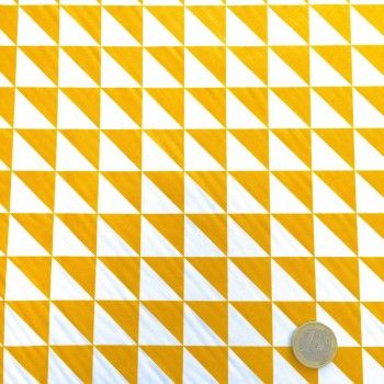 Tissu de coton à triangles jaunes et blancs - Oekotex