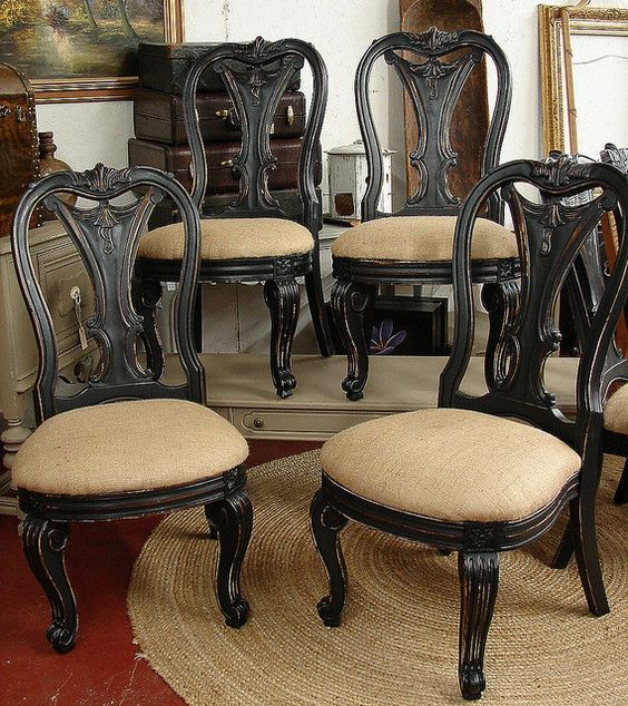 Black Dining Room Chair: Vintage Reclaimed Black Paint Distressed Burlap Bernhardt