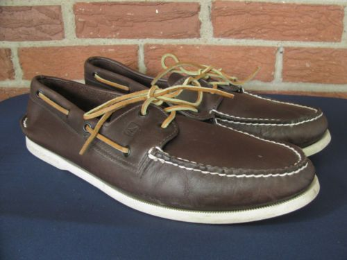 Sperry Top Siders Mens Brown Leather Boat Shoes Size 15 | eBay ...