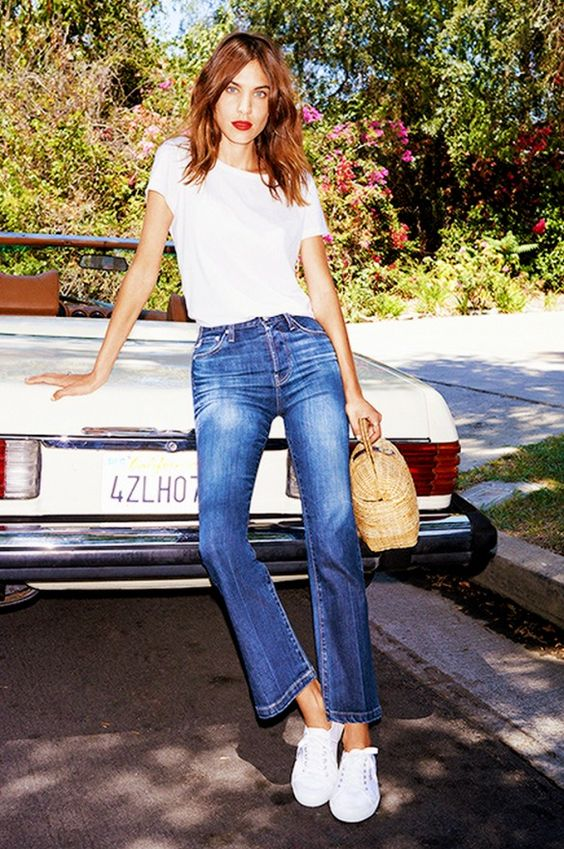 Alexa Chung in a basic white tee and flared jeans: