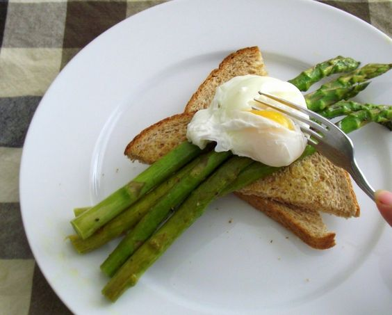 Roasted Asparagus & Poached Eggs on Toast