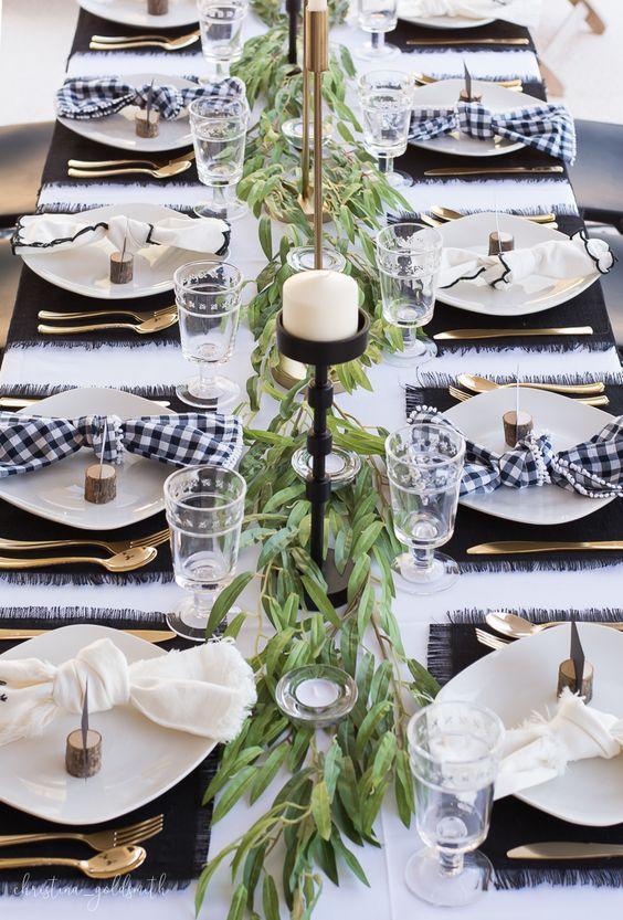 Modern Black + White Thanksgiving Tablescape