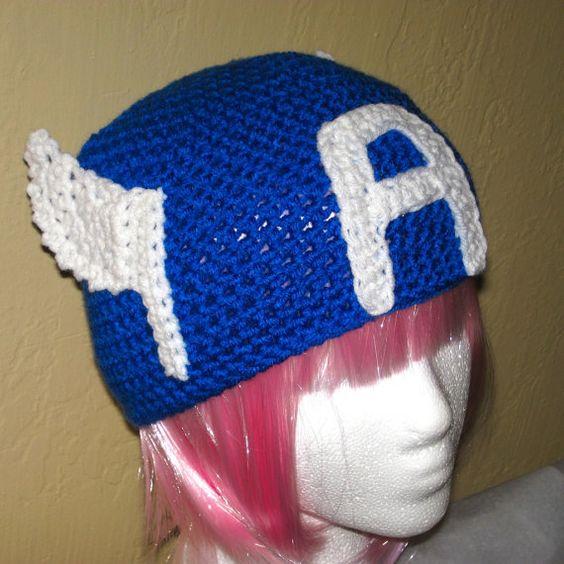 Crochet Hat Patterns With Instructions : Captain America Avengers crochet hat pattern PDF - DIY ...
