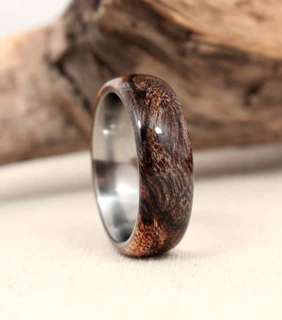 Spalted Avocado Lined with Titanium Wooden Ring Titanium Ring - my hubby would like this
