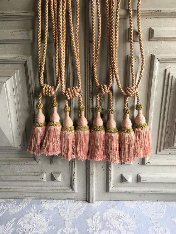 |38 Cord|S embrace Set of 4 Beautiful French Blue Curtain /& Drapery Double Tassel Tieback|5 12 tassel|27  Spread