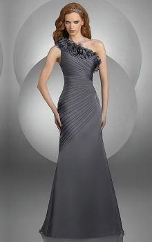 Gray Sheath/Column One Shoulder Natural Long/Floor-length Sleeveless Ruffles Elastic Woven Satin Evening Dress Dress