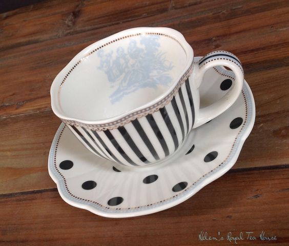 Polka Dots and Stripes....Grace Teaware https://www.facebook.com/HelensRoyalTeaHouse http://www.etsy.com/shop/HelensRoyalTeaHouse