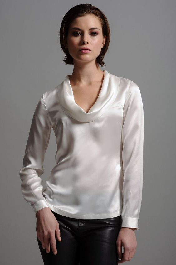 White Silk Cowl Neck Blouse 52 | Satinblusen | Pinterest | Satin ...