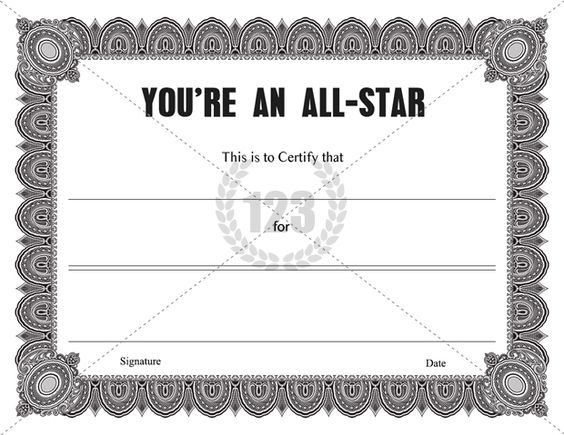 Youu0027re an All Star Certificate Template Certificate Templates - certificate of completion wording