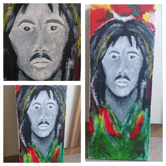 Bob Marley made from melted wax crayons