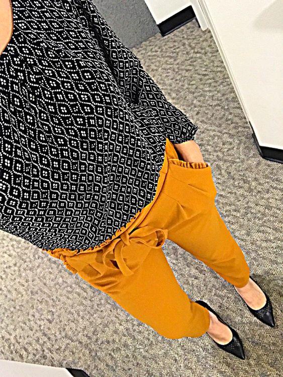 Pattern top Mustard pants Black heels #fashion #style #fallvibes