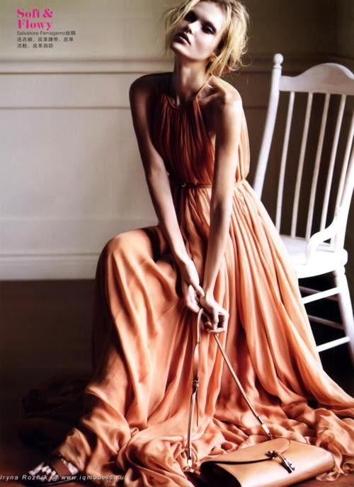 flowing peach dress