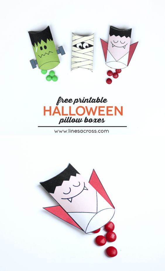 Dracula and Frankenstein Pillow Boxes with Free Printables - Lines Across