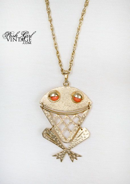 1970's Gold Metal Frog Necklace