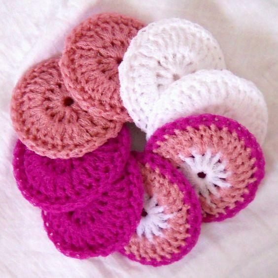Crochet Nylon Dish Scrubbies  Set of 8  Valentine by ArtistBeeBee, $16.00