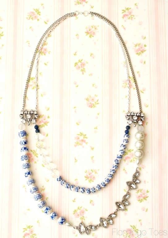 DIY Blue Willow Statement Necklace