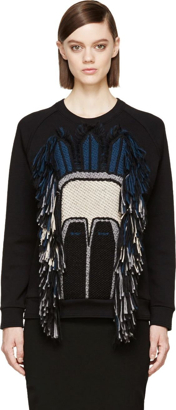 Lanvin: Black Fringed Mask Sweatshirt | SSENSE