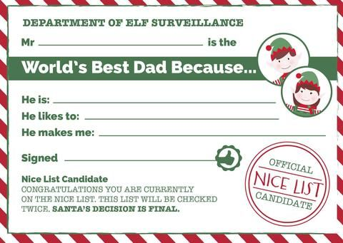 13 best christmas elf certificates images on pinterest christmas give dad the recognition he deserves this fathers day with our free printable worlds best dad certificates yadclub Image collections