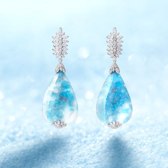 WINTER'S TALE EARRINGS by VOTIVE • Paraiba, White Diamonds, 18k White Gold