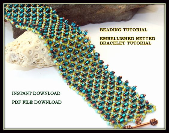 Beading Tutorial Embellished Netted Bracelet tutorial,  Instant Download, seed bead weaving bracelet