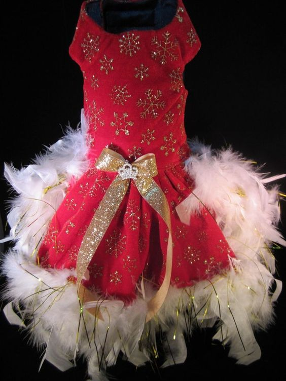 NEW Couture Fancy Holiday Feather Dog Dress SMALL _ Dog Clothes _ ...