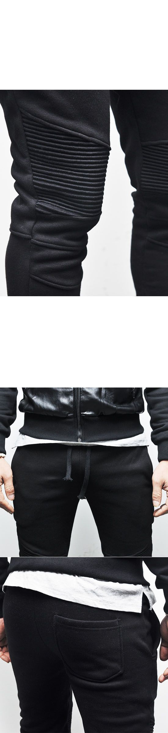 Bottoms :: 3col) Designer Homme Seaming Slim Biker-Sweatpants 87 - Mens Fashion Clothing For An Attractive Guy Look