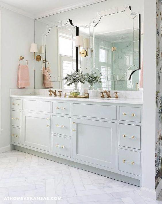 Sage Green Bathroom Sagegreenbathrooms Herringbone Tile Floors Bathroom Marble Herringbone Tile