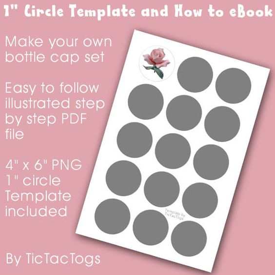 "how to make images for bottle caps | How To Make Bottle Cap Collage Set eBook PDF Tutorial plus 1"" Circle ..."