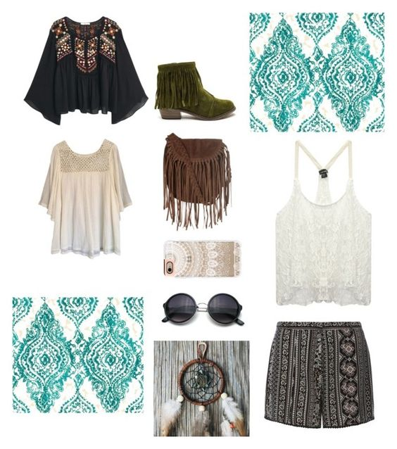 """Highschool trend: Boho"" by simplyeb ❤ liked on Polyvore featuring York Wallcoverings, MANGO, Glamorous, Casetify, Dorothy Perkins, Wet Seal, Haute Hippie, women's clothing, women and female"