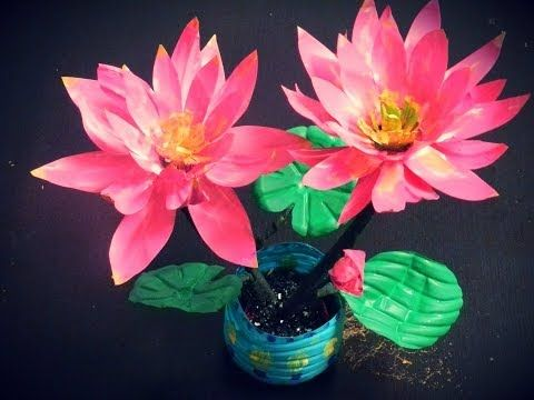 Lotus flowers lotus and plastic bottles on pinterest for Waste material flower making