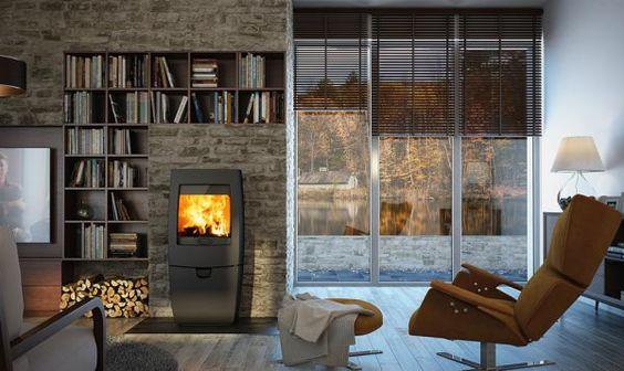 De  Dovre Sense 400  is een compacte houtkachel met een moderne vormgeving.