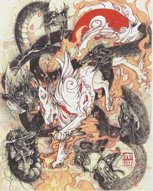 Okami and Orochi! Great game with an awesome art style!