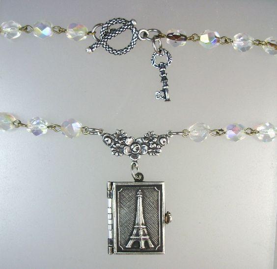 Antique FRENCH EIFFEL TOWER Souvenir PHOTO BOOK LOCKET Silver KEY Charm Crystal Bead Necklace-n-etbkr