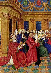 Jean Fouquet, Libro d'Ore di Etienne Chevalier,  1452-1460, miniatura, 16,5x12 cm, si trova in più musei, Museo Condé di Chantilly, British Library di Londra, Metropolitan Museum di New York ecc.
