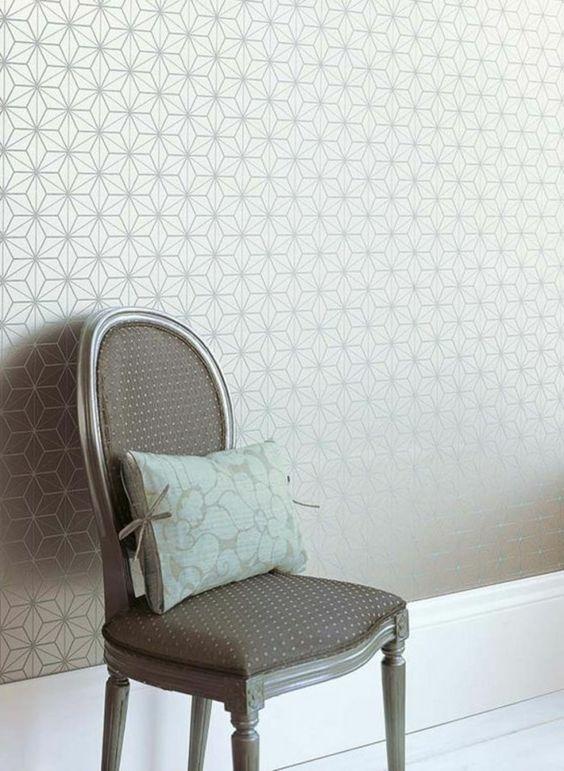 Beautiful Papier Peint Pour Couloir #12: Papier Peint Pour Couloir Gris Avec Dessin Géométrique Enormément Du0027idées  Dans Lu0027article