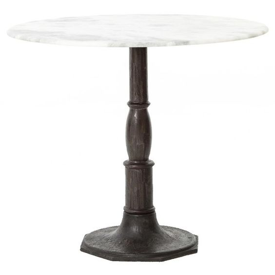 French Industrial White Marble Top Round Bistro Table ($960) ❤ liked on Polyvore featuring home, furniture, tables, dining tables, cast iron bistro table, cafe furniture, white marble dining table, white marble table and cafe table