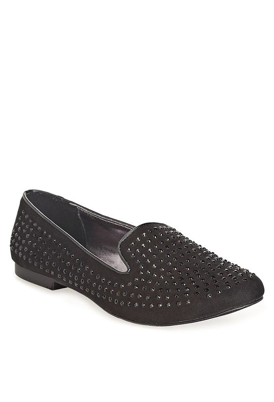 Plus Size Monroe Black Rhinestone Loafer | Plus Size Flats & Loafers | Avenue