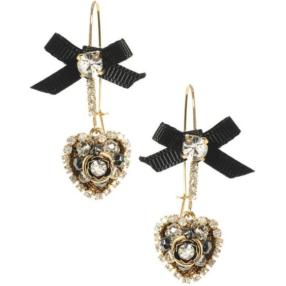 Crystal Heart Bow Drop Earrings (€30) ❤ liked on Polyvore featuring jewelry, earrings, accessories, brincos, women, long drop earrings, crystal stone jewelry, polish jewelry, hook earrings and long crystal earrings