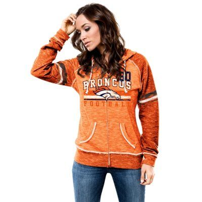 Womens Denver Broncos Majestic Orange Field of Play Tri-Blend T-Shirt