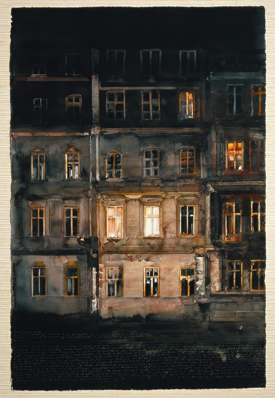 Looking through night windows... (Lars Lerin Sweden)